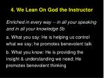 4 we lean on god the instructor