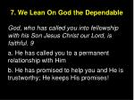 7 we lean on god the dependable