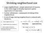shrinking neighborhood size