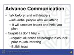 advance communication