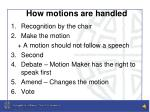how motions are handled