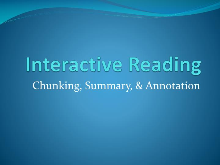 interactive reading n.