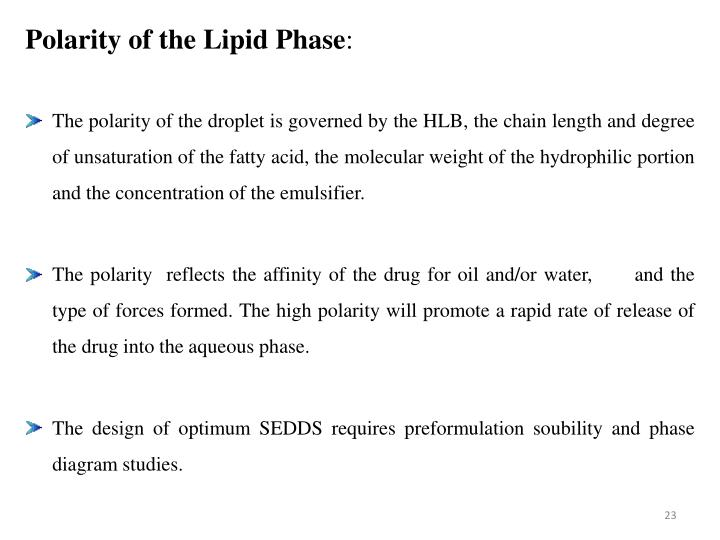 Polarity of the Lipid Phase