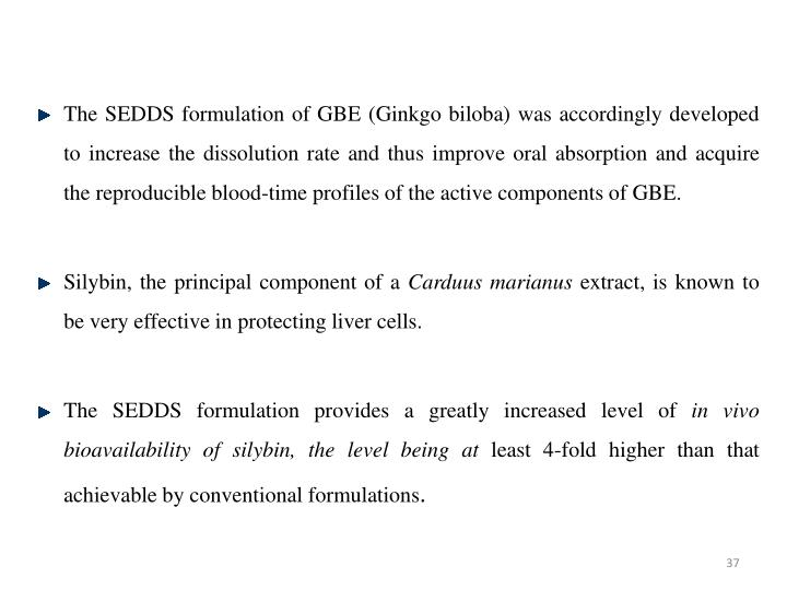 The SEDDS formulation of GBE (Ginkgo biloba) was accordingly developed to increase the dissolution rate and thus improve oral absorption and acquire the reproducible blood-time profiles of the active components of GBE.