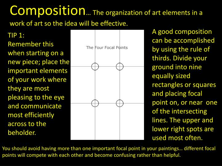 four elements of artistic composition Home directory of drawing lessons art principles & elements art composition art compositions lessons & tutorials : how to arrange elements in your artwork & drawings to create beautiful compositions.