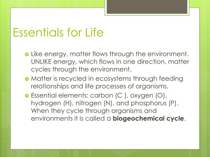 Essentials for life