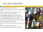 my sister sheridan