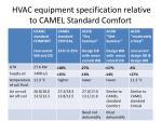 hvac equipment specification relative to camel standard comfort
