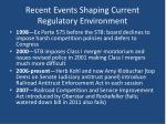 recent events shaping current regulatory environment