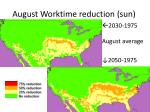 august worktime reduction sun