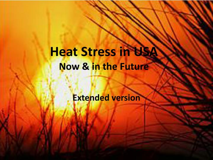 heat stress in usa now in the future n.