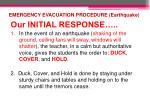 emergency evacuation procedure earthquake