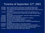 timeline of september 11 th 2001