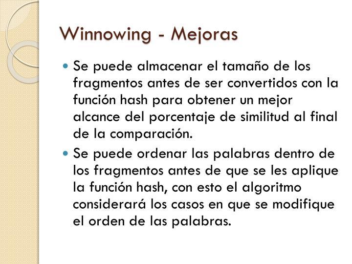 Winnowing - Mejoras