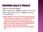 knowing male female