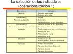 la selecci n de los indicadores operacionalizaci n 1