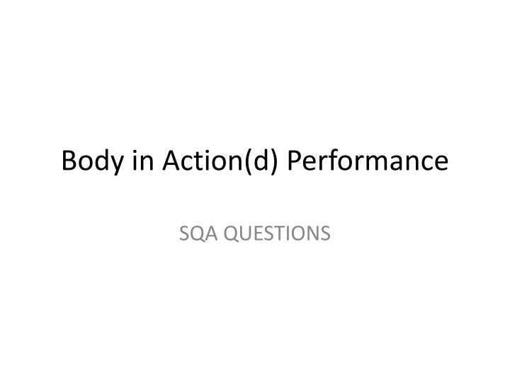 body in action d performance n.