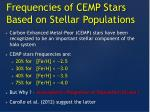frequencies of cemp stars based on stellar populations