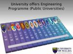 university offers engineering programme public universities