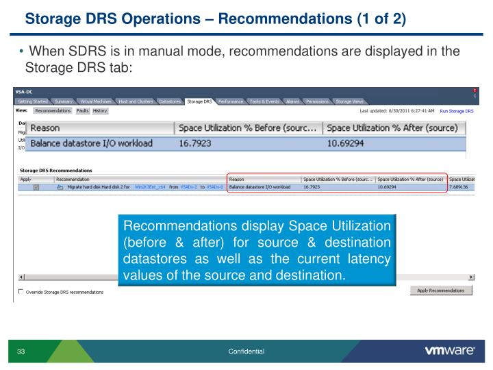 Storage DRS Operations – Recommendations (1 of 2)