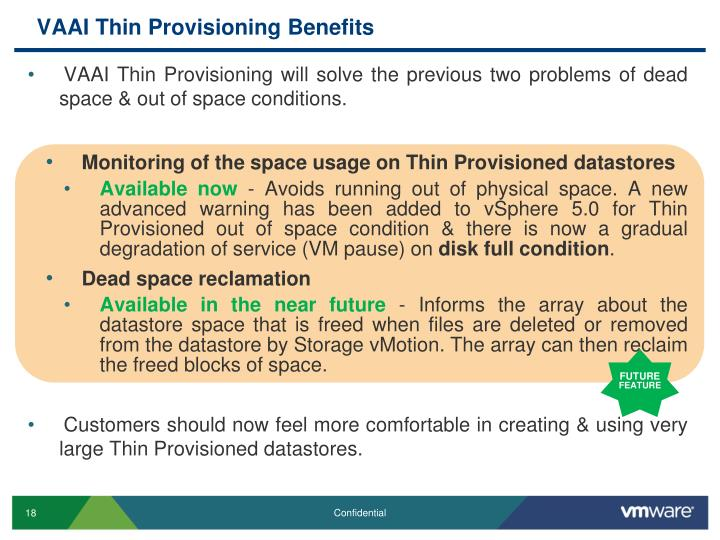 VAAI Thin Provisioning Benefits