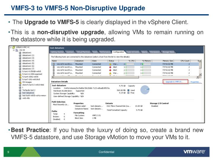 VMFS-3 to VMFS-5 Non-Disruptive Upgrade