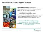 the fraunhofer society applied research