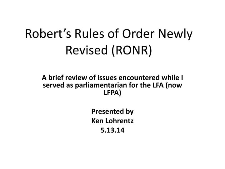 robert s rules of order newly revised ronr n.