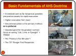 basic fundamentals of ahs doctrine