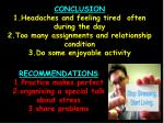 recommendations 1 practice makes perfect 2 organising a special talk about stress 3 share problems
