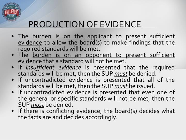 Production of evidence