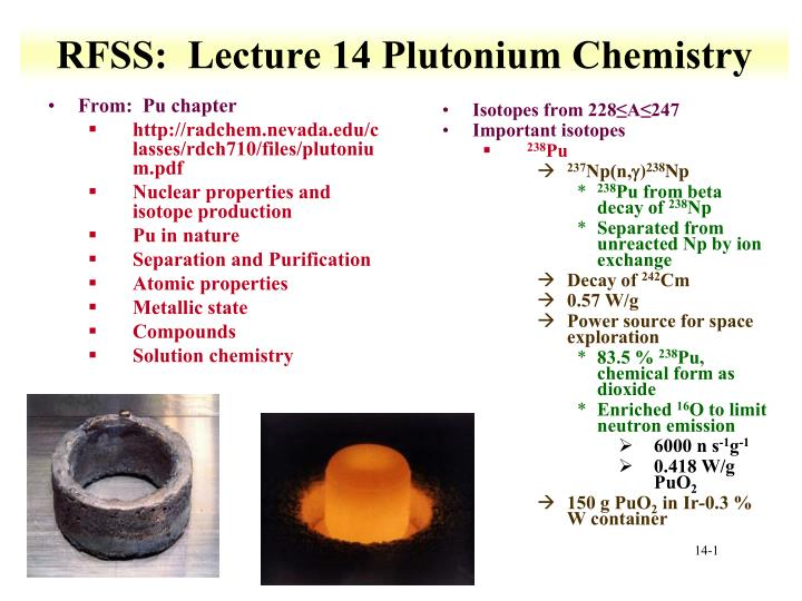 rfss lecture 14 plutonium chemistry n.
