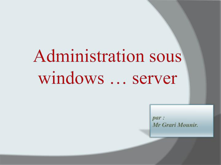 administration sous windows server n.