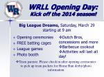 wrll opening day kick off the 2014 season
