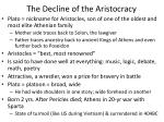 the decline of the aristocracy