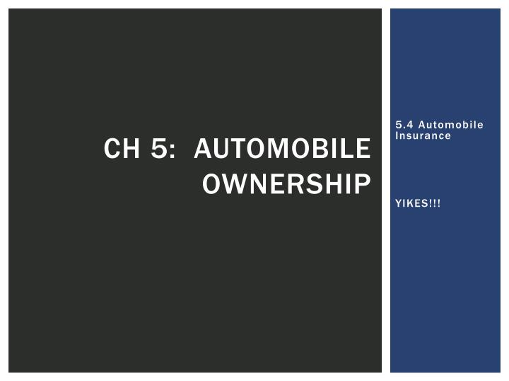 ch 5 automobile ownership n.