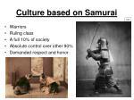 culture based on samurai