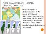 arab palestinian israeli jewish conflict