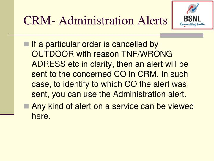 CRM- Administration Alerts