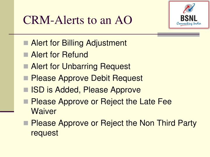 CRM-Alerts to an AO