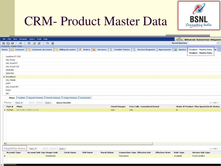 CRM- Product Master Data