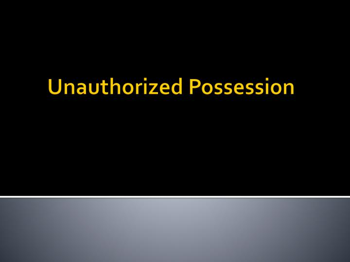 unauthorized possession n.