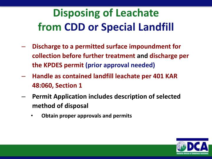 Disposing of Leachate