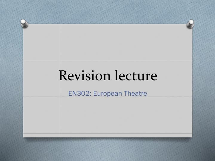 revision lecture n.
