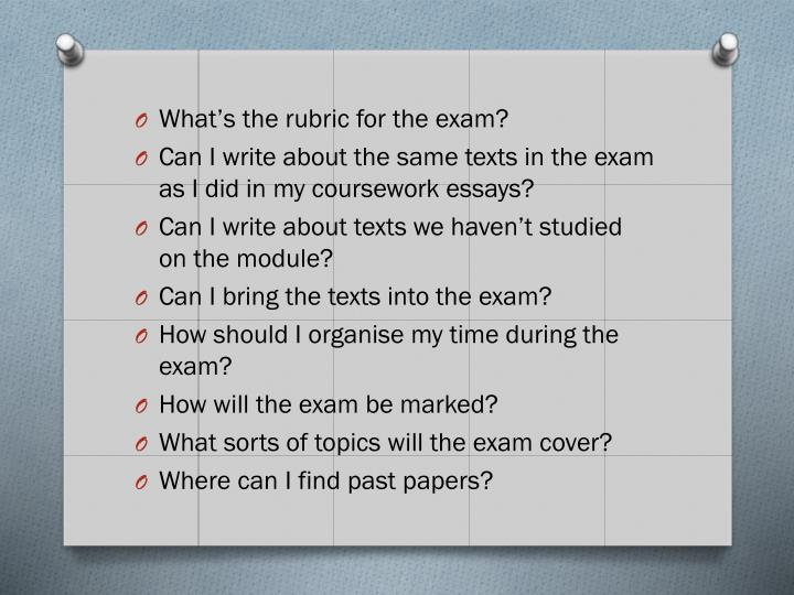 What's the rubric for the exam