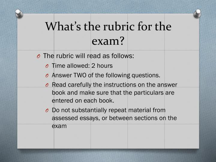 What s the rubric for the exam