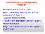 how water security in iraq is being impacted