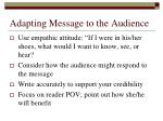 adapting message to the audience
