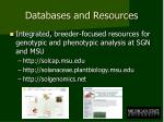 databases and resources