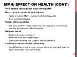 mmh effect on health cont
